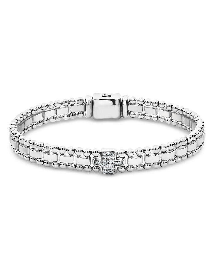 LAGOS - Sterling Silver Caviar Spark Pavé Diamond Link Bracelets