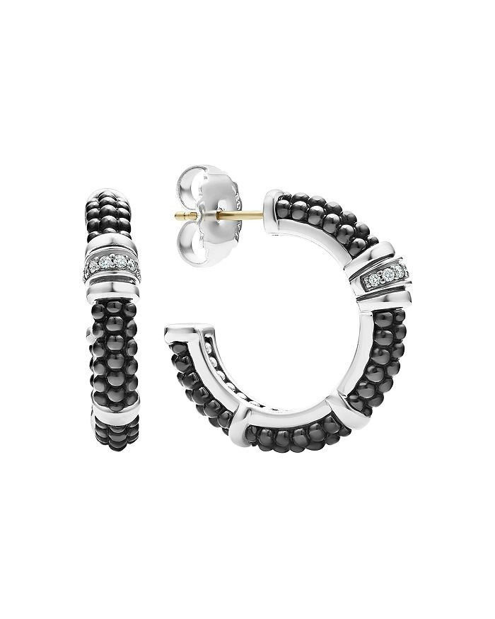 Lagos STERLING SILVER & CERAMIC BLACK CAVIAR HOOP EARRINGS WITH DIAMONDS