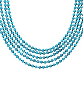 """LAGOS - Sterling Silver Caviar Icon Multi-Row Turquoise & Onyx Beaded Necklace, 20"""""""