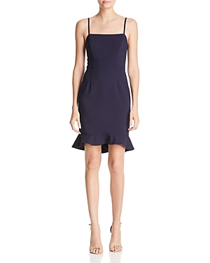 French Connection Whisper Ruffle-Hem Sheath Dress