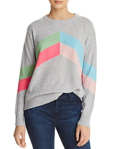 Minnie Rose - Color-Block Chevron Cashmere Sweater
