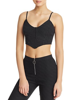56d63b55eaeac Tiger Mist - Halle Pinstriped Bustier Cropped Top ...