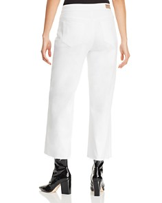 AQUA - Tie-Front Cropped Wide-Leg Jeans in Optic White - 100% Exclusive