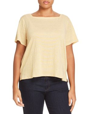 Eileen Fisher Plus Square-Neck Striped Linen Tee