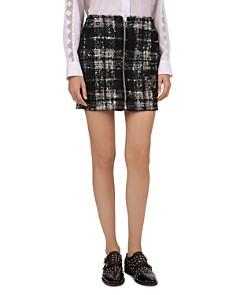 The Kooples - Embellished Fleur-de-Lis Plaid Tweed Mini Skirt