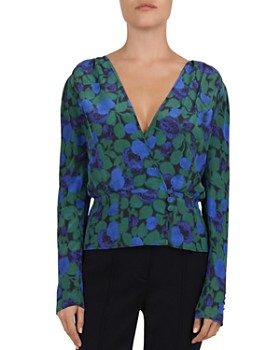 920f9e70003143 The Kooples - Winter Night Printed Silk Crossover Top ...