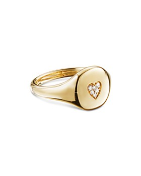 David Yurman - Cable Collectibles Heart Mini Pinky Ring in 18K Gold with Diamonds