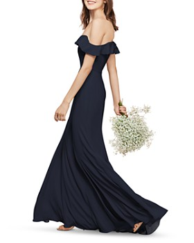 Watters - Isabella Off-the-Shoulder Georgette Gown