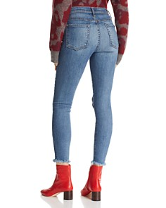 7 For All Mankind - Heart-Patched Ankle Skinny Jeans in Indigo Spring