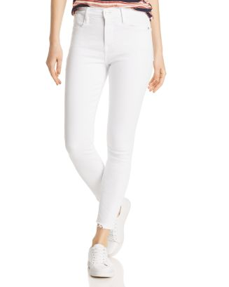 Le High Frayed Cropped Skinny Jeans In Blanc Ave   100% Exclusive by Frame