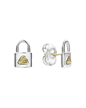 Lagos 18K Yellow Gold & Sterling Silver Beloved Padlock Stud Earrings