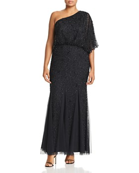 2ed0209581e6 Adrianna Papell Plus - Beaded One-Shoulder Gown ...