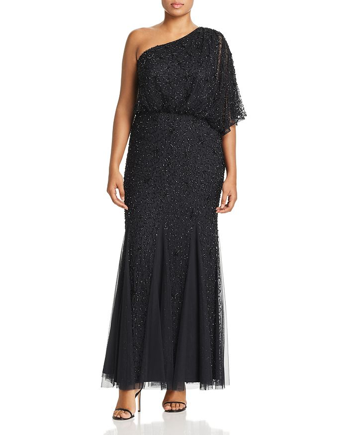 Adrianna Papell Plus - Beaded One-Shoulder Gown