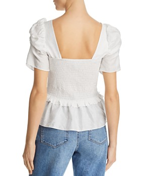 Lucy Paris - Puff-Sleeve Smocked Top