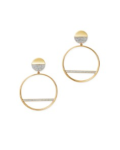 Bloomingdale's - Pavé Diamond Circle Drop Earrings in 14K Yellow Gold, 0.40 ct. t.w. - 100% Exclusive