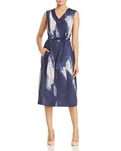 Donna Karan - Belted Brushstroke Print Dress