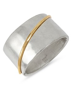 Robert Lee Morris Soho - Two-Tone Sculptural Wide Hinged Bangle Bracelet