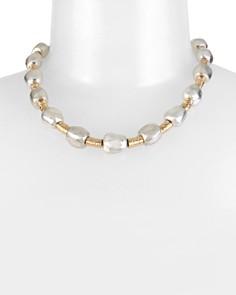 "Robert Lee Morris Soho - Two-Tone Geometric Round Wire Collar Necklace, 17"""