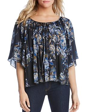 Karen Kane Floral-Print Flutter-Sleeve Top