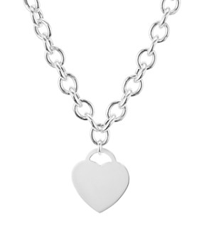 """AQUA - Heart Pendant Link Necklace in Sterling Silver, 16"""" - 100% Exclusive"""