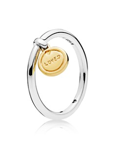 PANDORA - Gold Tone-Plated Sterling Silver & Sterling Silver Medallion of Love Ring