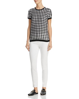 C by Bloomingdale's - Gingham-Front Cashmere Sweater - 100% Exclusive