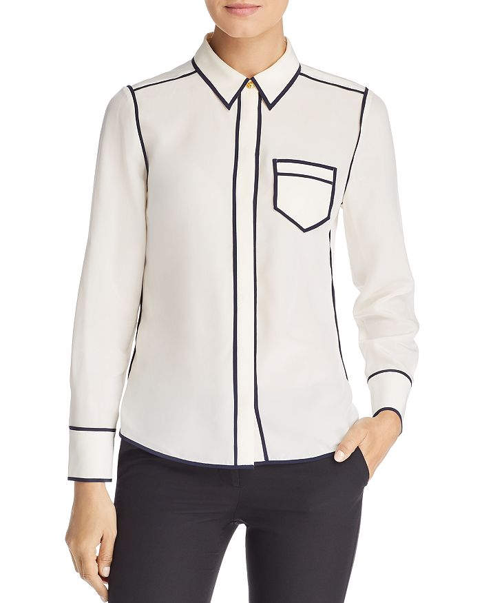 f75b46e1f260c Tory Burch - Contrast-Trim Silk Shirt