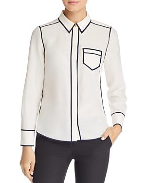 Tory Burch Contrast-Trim Silk Shirt
