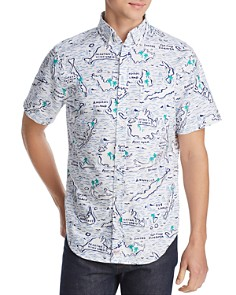 Vineyard Vines - Murray Short-Sleeve Map-Of-The-Islands-Print Classic Fit Button-Down Shirt