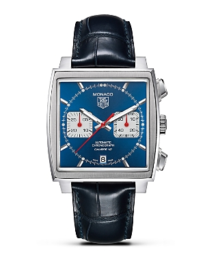 Tag Heuer Monaco Square Watch with Alligator Strap, 39mm