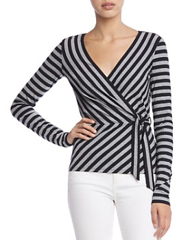 Bailey 44 - Toe The Line Striped Rib-Knit Faux-Wrap Top
