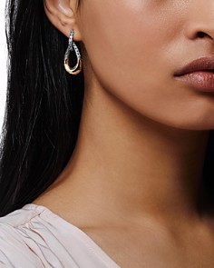 JOHN HARDY - 18K Yellow Gold & Sterling Silver Classic Chain Hammered Hoop Earrings