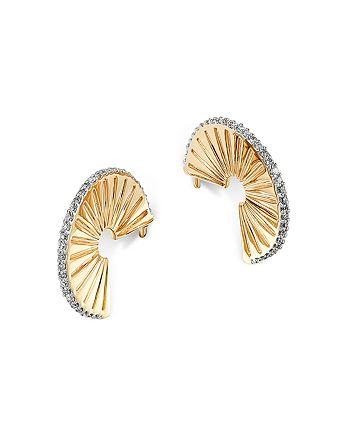 Adina Reyter - 14K Yellow Gold Pavé Diamond Rays J Hoop Earrings