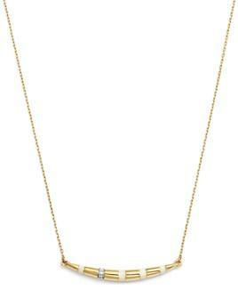 """Adina Reyter - 14K Yellow Gold Pavé Diamond Striped Curve Necklace, 16"""""""