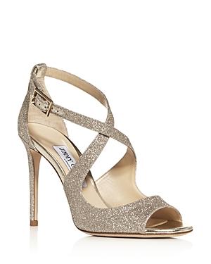 Jimmy Choo Women's Emily 100 Crisscross High-Heel Sandals In Platinum Glitter