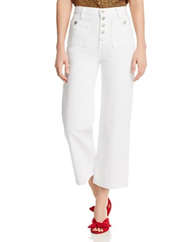 J Brand - Joan High Rise Crop Wide Leg Jeans in White
