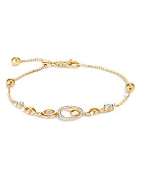 JOHN HARDY - 18K Yellow Gold Dot Pull-Through Bracelet with Pavé Diamond