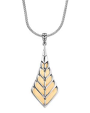 John Hardy Sterling Silver & 18K Yellow Gold Modern Chain Foxtail Pendant Necklace, 30