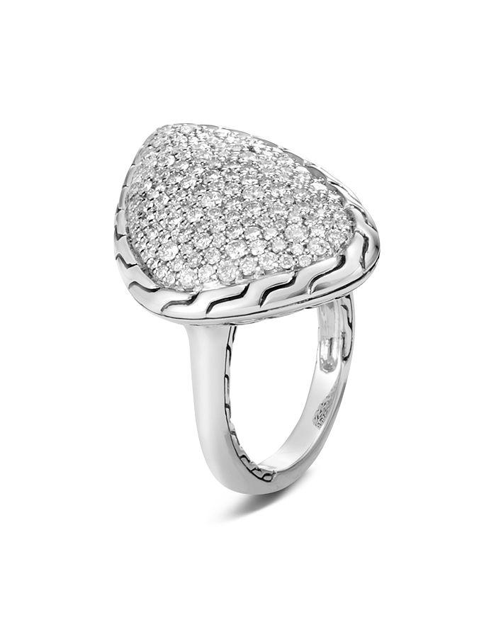 JOHN HARDY - Sterling Silver Classic Chain Pavé Diamond Ring