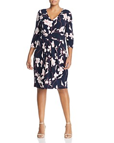 Adrianna Papell Plus - Printed Knit Pleat Dress