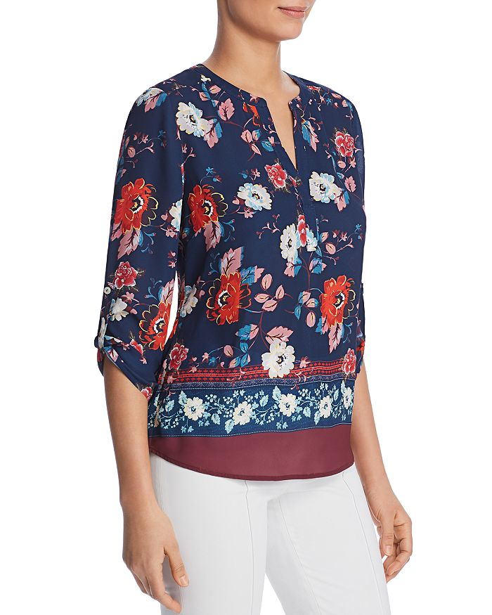 Daniel Rainn - Floral Print Split Neck Blouse