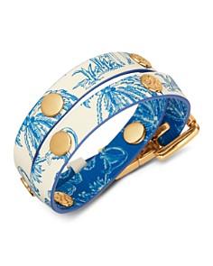 Tory Burch - Printed Double Wrap Logo Stud Bracelet
