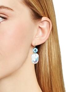 Tory Burch - Evil Eye Cultured Freshwater Pearl Drop Earrings