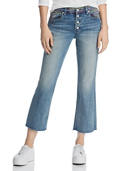 BLANKNYC - Embroidered Cropped Flared Jeans in Crash Pad