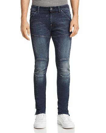 G-STAR RAW - 5620 3D Ankle Zip Skinny Fit Jeans in Authentic Dark Aged