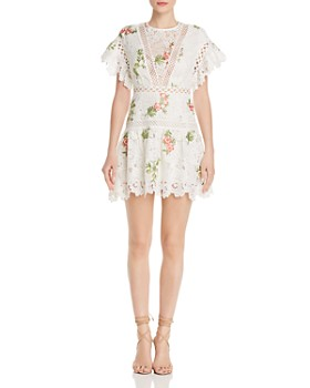 Saylor - Floral Embroidered Crochet-Trim Dress