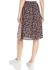 Band of Gypsies - New Orleans Color-Blocked Floral-Print Skirt