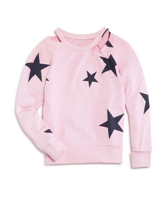 Flowers by Zoe - Girls' Cold-Shoulder Star Sweatshirt - Little Kid
