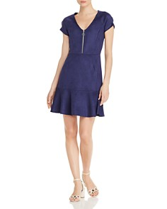 AQUA - Faux-Suede Zip-Front Dress - 100% Exclusive