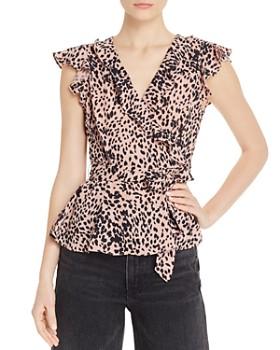 AQUA - Leopard-Print Ruffle-Trim Top - 100% Exclusive